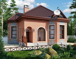 Дом 9.6 м × 8.4 м c четырехскатной крышей