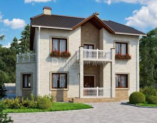 Дом 12 м × 10 м c двускатной крышей