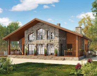 Дом 15 м × 11.3 м c двускатной крышей