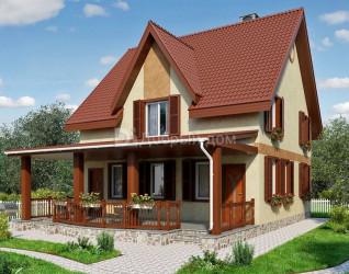 Дом 10.3 м × 10.3 м c двускатной крышей