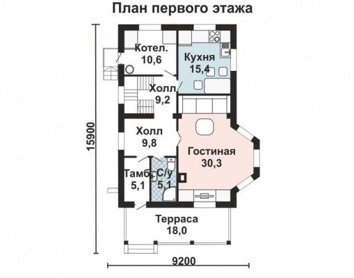 Дом 12.4 м × 8 м c мансардной крышей