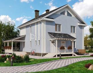 Дом 10.2 м × 10.2 м c двускатной крышей