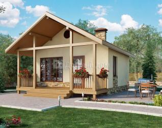 Дом 6 м × 6 м c двускатной крышей