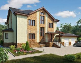 Дом 21 м × 20 м c двускатной крышей