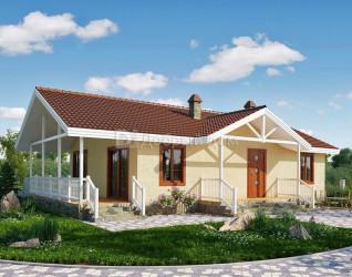 Дом 15.5 м × 9 м c четырехскатной крышей