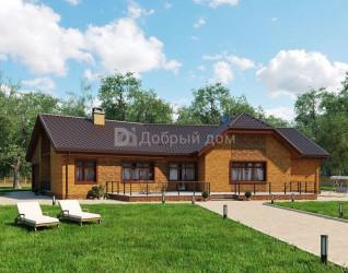 Дом 19.8 м × 17.5 м c двускатной крышей