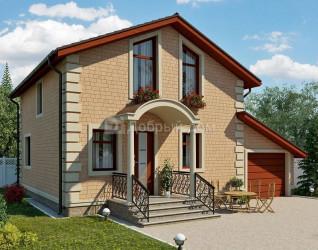 Дом 9.5 м × 8.1 м c двускатной, мансардной крышей
