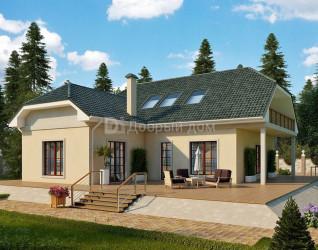 Дом 15.8 м × 13.1 м c мансардной, четырехскатной крышей