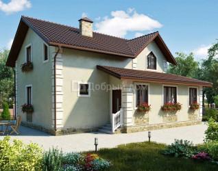 Дом 12.73 м × 10.08 м c двускатной крышей