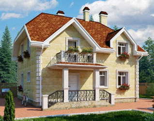 Дом 8.5 м × 8.2 м c мансардной крышей