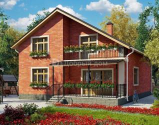 Дом 12 м × 10.6 м c двускатной крышей