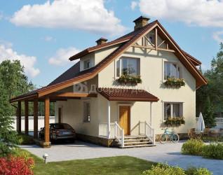 Дом 9.7 м × 8.4 м c двускатной крышей