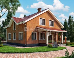 Дом 12.5 м × 11.2 м c двускатной крышей