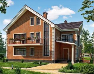 Дом 14.5 м × 12.5 м c двускатной крышей
