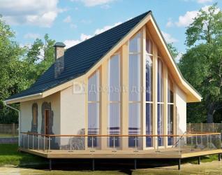 Дом 11 м × 8 м c двускатной крышей
