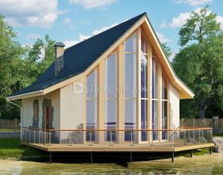 Дом 11.3 м × 8.1 м c двускатной крышей