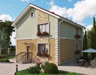 Дом 9.45 м × 8.63 м c двускатной крышей