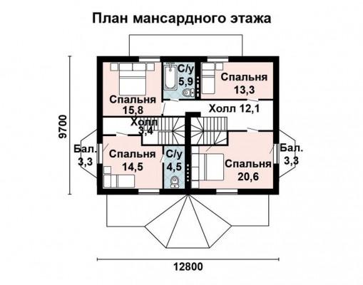 Дом 14 м × 8.9 м c мансардной крышей