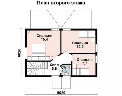 Дом 8.6 м × 5.6 м c двускатной крышей