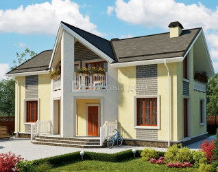 Дом 14 м × 8 м c двускатной крышей