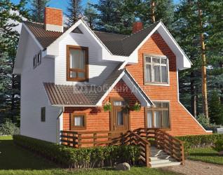 Дом 9 м × 7.5 м c двускатной крышей