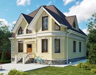 Дом 11 м × 9 м c мансардной крышей