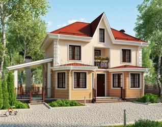 Дом 9.8 м × 8.4 м c четырехскатной крышей