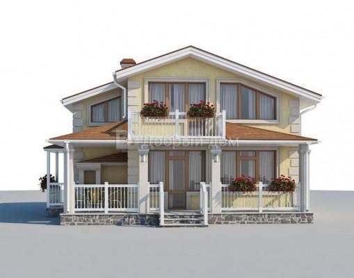 Дом 8.9 м × 8.9 м c двускатной крышей