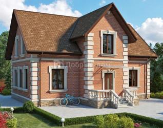 Дом 12.3 м × 8 м c двускатной крышей