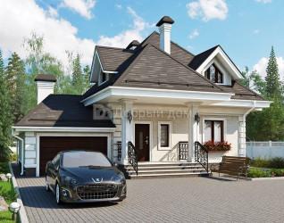 Дом 12.85 м × 8.45 м c четырехскатной крышей