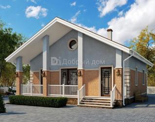 Дом 9.8 м × 9 м c двускатной крышей