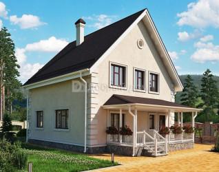 Дом 9.3 м × 9.3 м c двускатной крышей