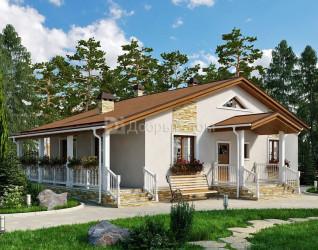 Дом 12 м × 9.6 м c двускатной крышей