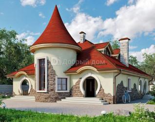 Дом 12.2 м × 11.2 м c четырехскатной крышей