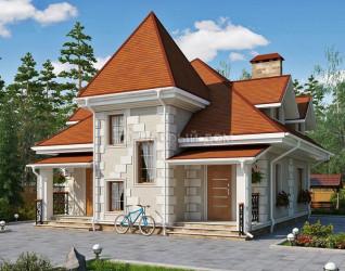 Дом 9.6 м × 8.2 м c мансардной, четырехскатной крышей