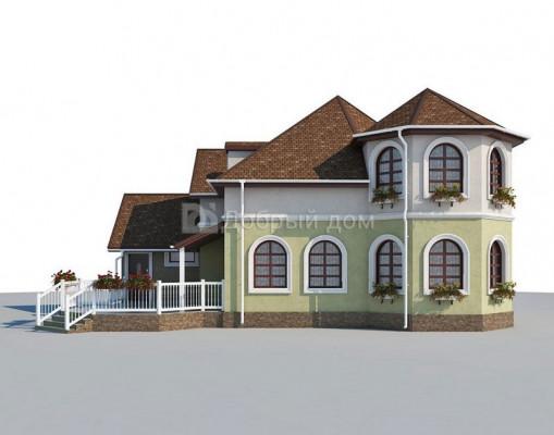 Дом 13.7 м × 11.2 м c мансардной, четырехскатной крышей