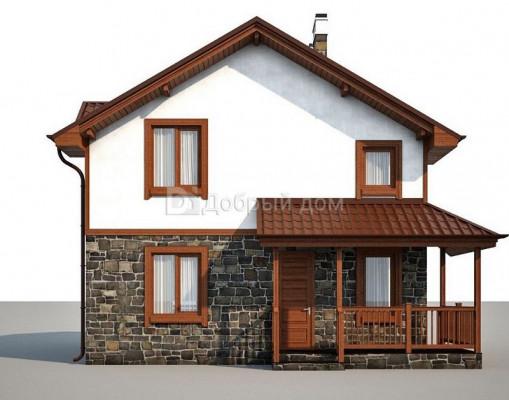 Дом 8.6 м × 8.1 м c двускатной крышей