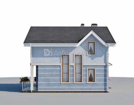 Дом 8.4 м × 7.8 м c двускатной крышей