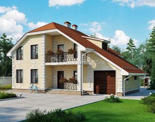 Дом 12.8 м × 9.4 м c мансардной крышей