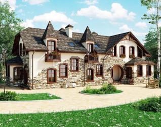 Дом 19.1 м × 12.2 м c мансардной крышей