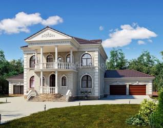 Дом 32.8 м × 22.3 м c четырехскатной крышей