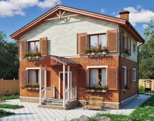 Дом 9.5 м × 7.9 м c двускатной крышей