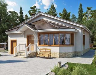Дом 14.7 м × 12.4 м c двускатной крышей