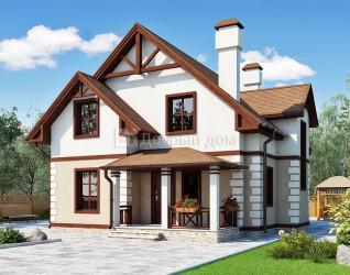 Дом 10.3 м × 10.1 м c двускатной крышей