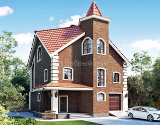 Дом 12.8 м × 11.2 м c мансардной крышей