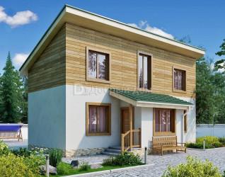Дом 12.6 м × 4.6 м c односкатной крышей