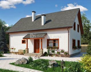 Дом 13.2 м × 10.4 м c двускатной крышей