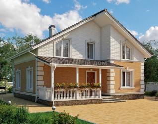Дом 9.8 м × 9.1 м c двускатной крышей
