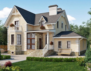Дом 14.8 м × 14.1 м c двускатной крышей