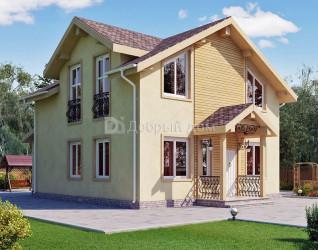 Дом 13.4 м × 9 м c двускатной крышей